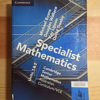 Specialist Maths Unit 1/2 VCE Cambridge Textbook 2017