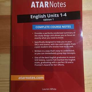 Atarnotes VCE English Unit 1-4 Notes 2017