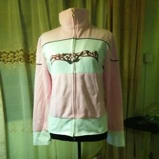 Turtle neck pink jacket with tribal print