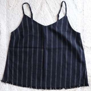 Dark Blue Pinstripe Top