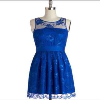 Plus Sized Blue Lace Dress