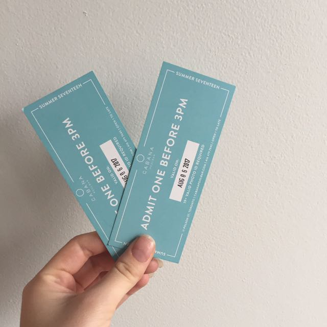 2 Tickets To Cabana (aug 6)