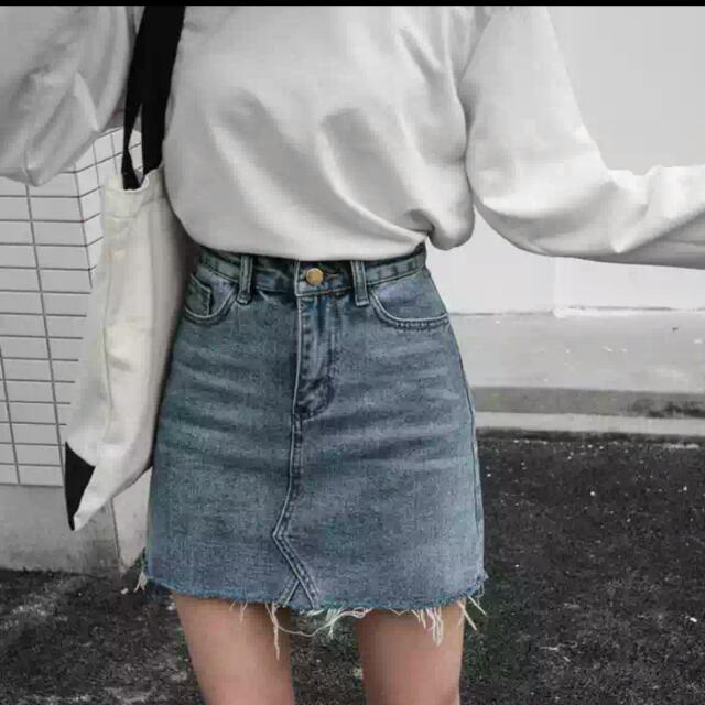 刷色牛仔短裙