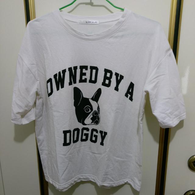白色狗狗寬鬆短袖上衣