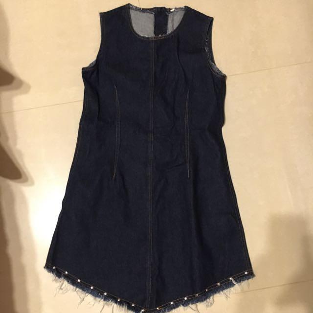 深藍牛仔洋裝長版