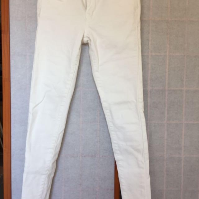 正韓 白色緊身顯瘦牛仔褲