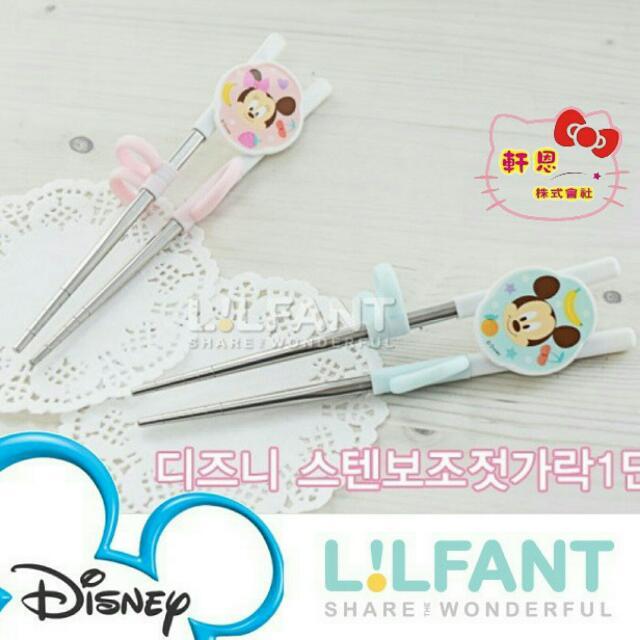 【妮醬日貨】迪士尼米奇 米妮 韓國製 304不鏽鋼 學習筷 筷子 兒童餐具 049270