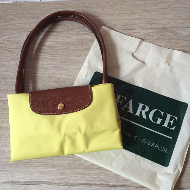 全新 外國帶回 正品 Longchamp 亮黃色 長帶 包 購物包