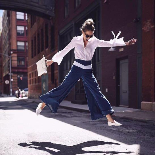 歐美部落客著用 法國 MAJE 時尚牛仔寬褲 Pako Jeans