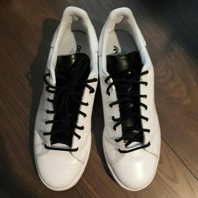 Adidas Stan Smith Originali Di Pelle Bianca Di Pizzo Nero, Moda Maschile
