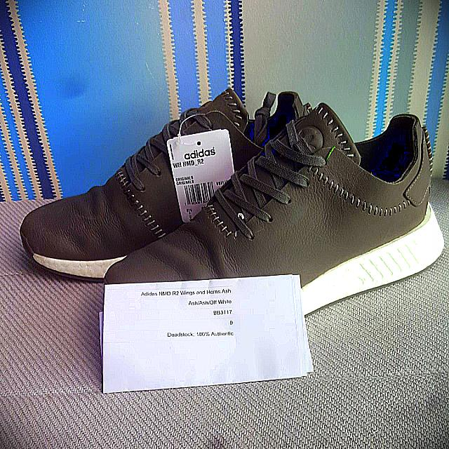 914c943d84f81 adidas x Wings+Horns NMD R2 Ash (Leather)