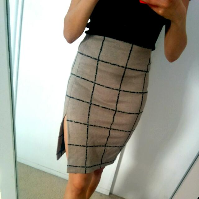 ASOS Light Brown Skirt With Slit Size UK 6