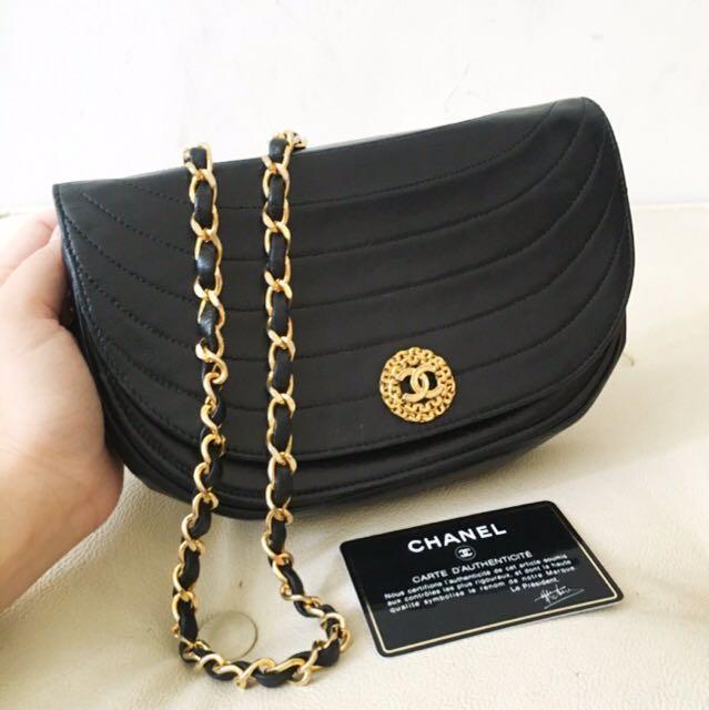 6de334df864c Authentic Chanel Chevron Half Moon Lambskin Dinner Bag With 24k Gold ...