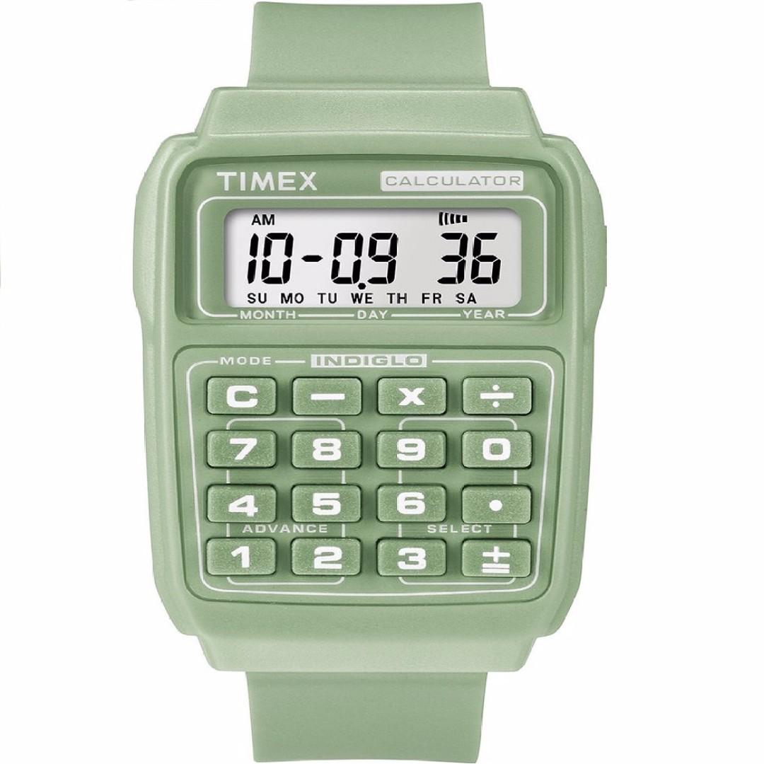 AUTHENTIC TIMEX 2N239 CALCULATOR DIGITAL GREEN WATCH