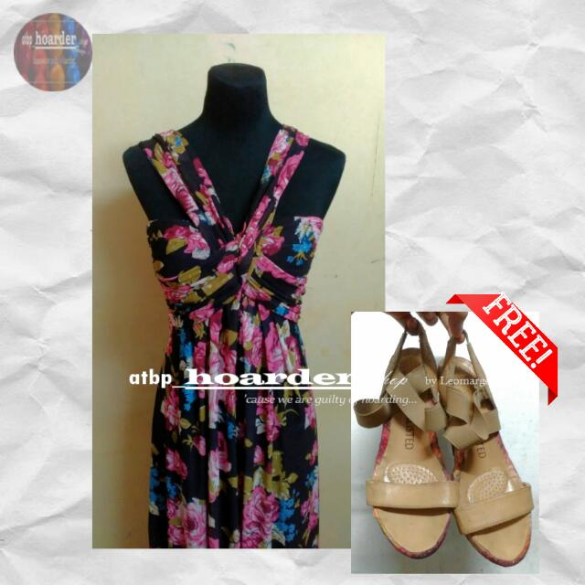 Beach OOTD: Mags Floral Beach Gown/ Dress with Free Beach Wedge Sandals By Unlisted