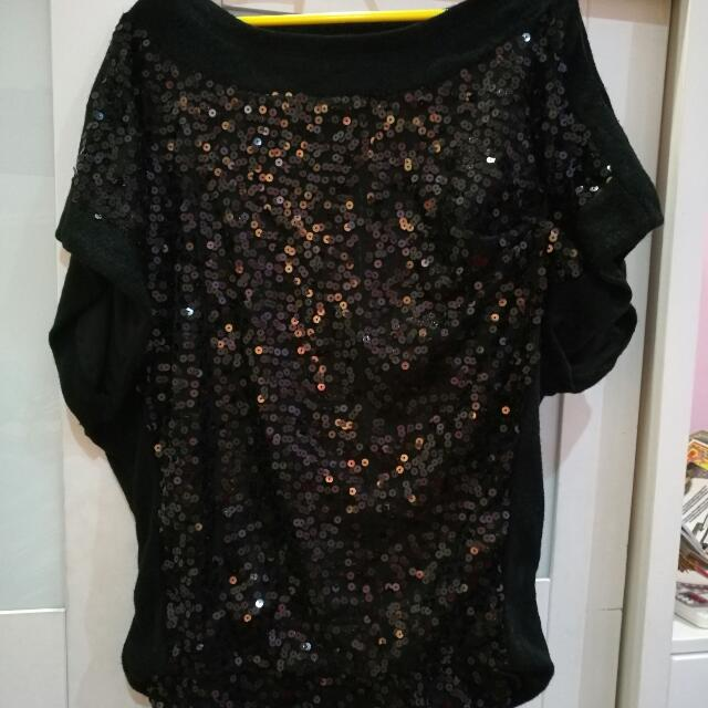 0b52748fc6ca98 Black Sequin Blouse, Women's Fashion, Clothes, Tops on Carousell
