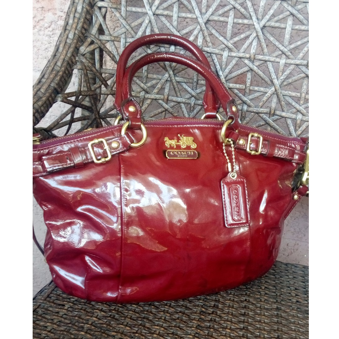 Coach Madison Sophia Orchid Red Patent Leather Satchel Authentic Women S Fashion Bags Wallets On Carou