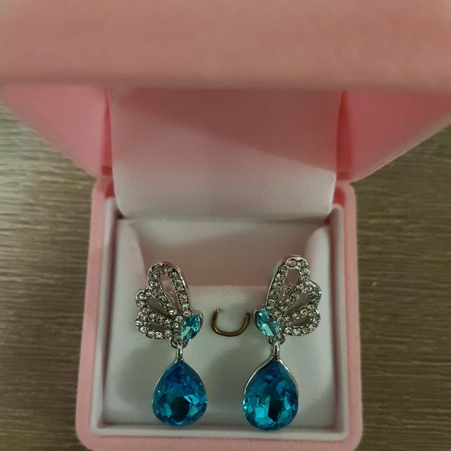 Crystal Blue Teardrop Jewellery Set