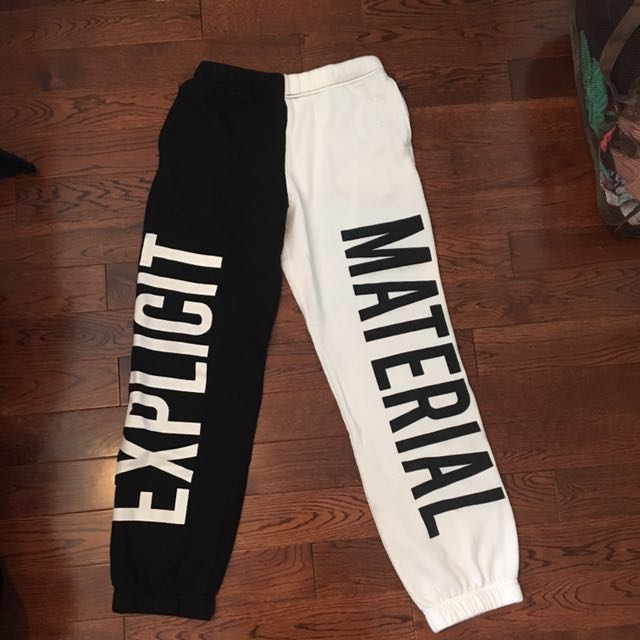 Explicit Material B&W Sweatpants