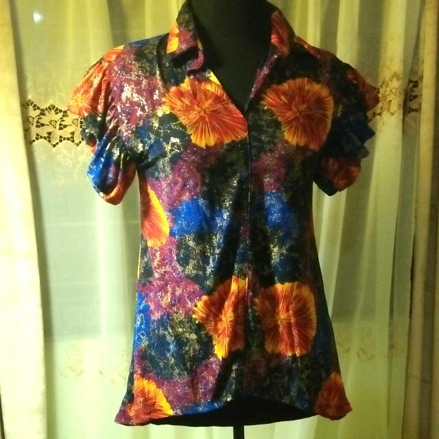 floral blouse with gold splash print
