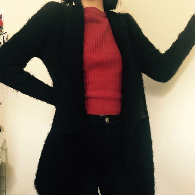Fluffy Black Cardigan