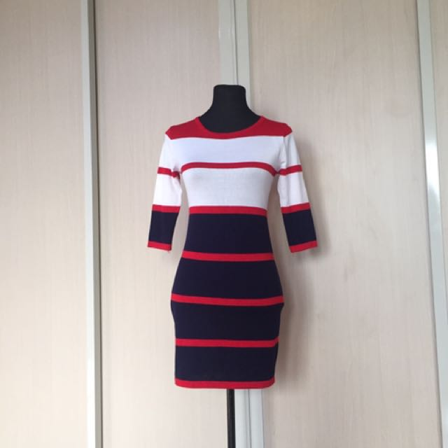 Free Size Navy Blue and Red Dress