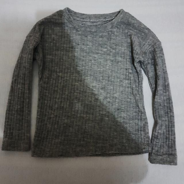 Gray Ribbed Pullover