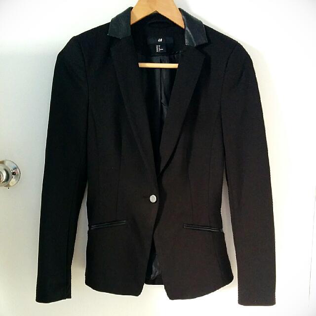 H&M Leather-collared Black Blazer Size XS/Petite