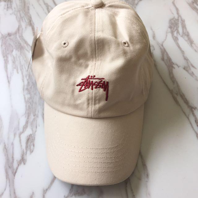 Instock Unisex Basic Essentials Stussy Khaki Cream Baseball Hat Cap ... 7b5b305b7b00