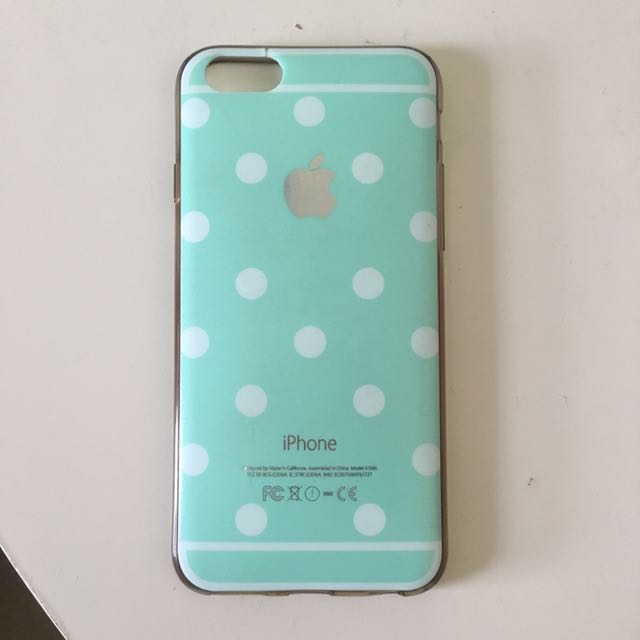 iPhone 6/6s Silicone Mint Green/White Polka Dot case