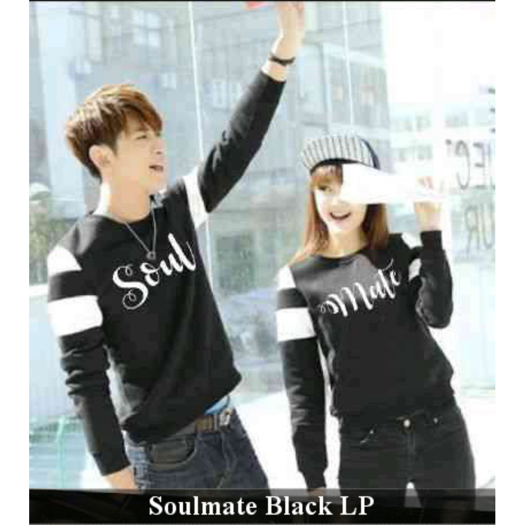 jual baju couple termurah lengan pa njang keren-supplier sweater kapel-Baju Couple Soulmate Black Lp