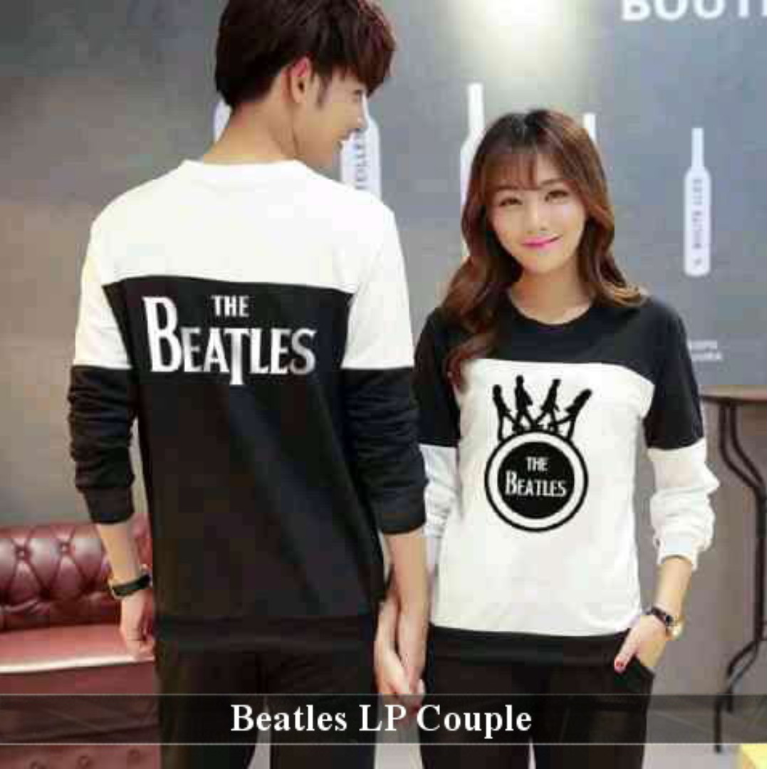 kaos couple tebal kekinian-sweater pasangan keren murah-Baju Couple Beatles LP