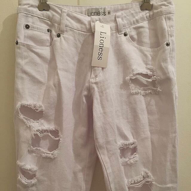 Lioness White Distressed Denim Skinny Jeans
