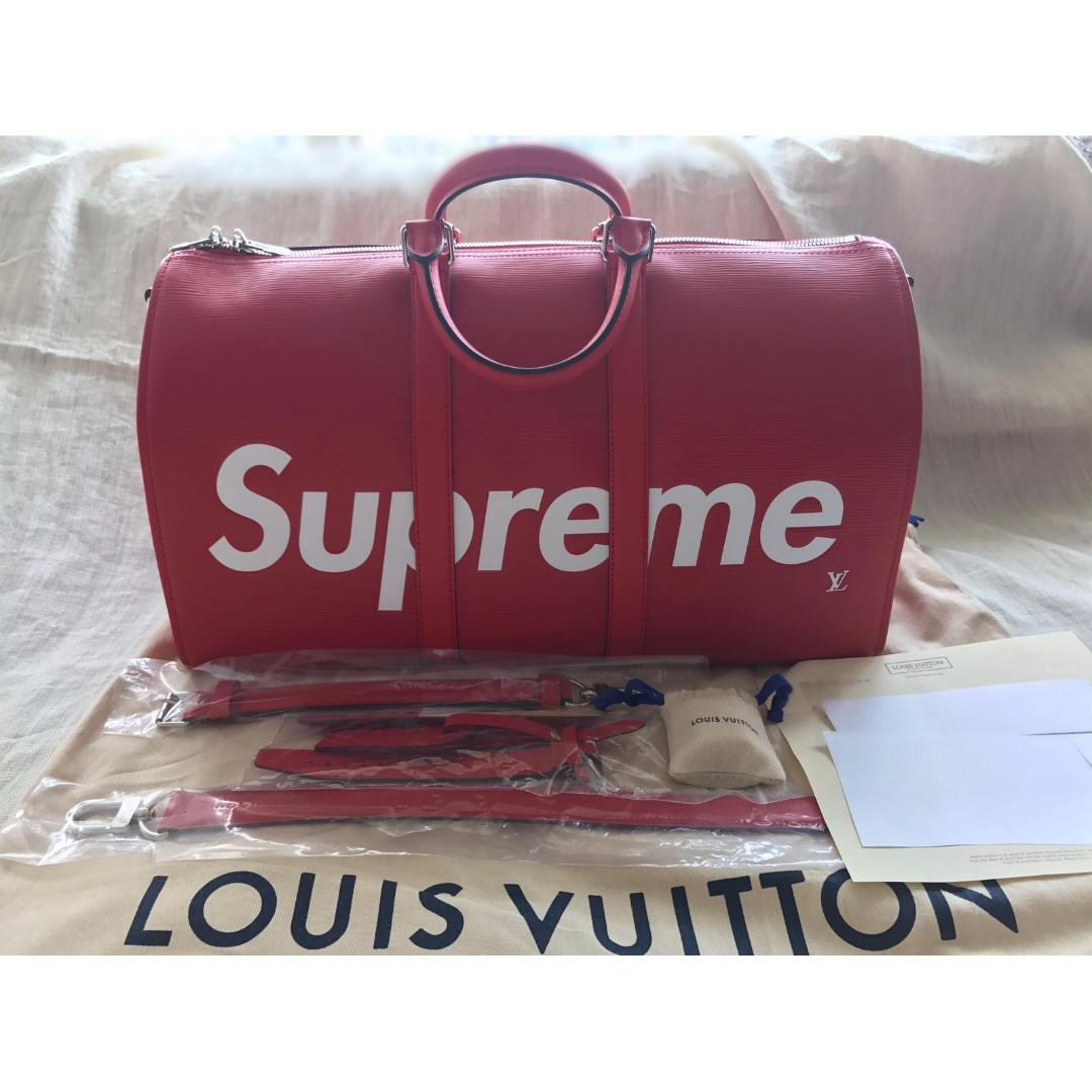 f844764cc289 Louis Vuitton x Supreme Keepall 45 Red Epi Leather Monogram Logo LV ...