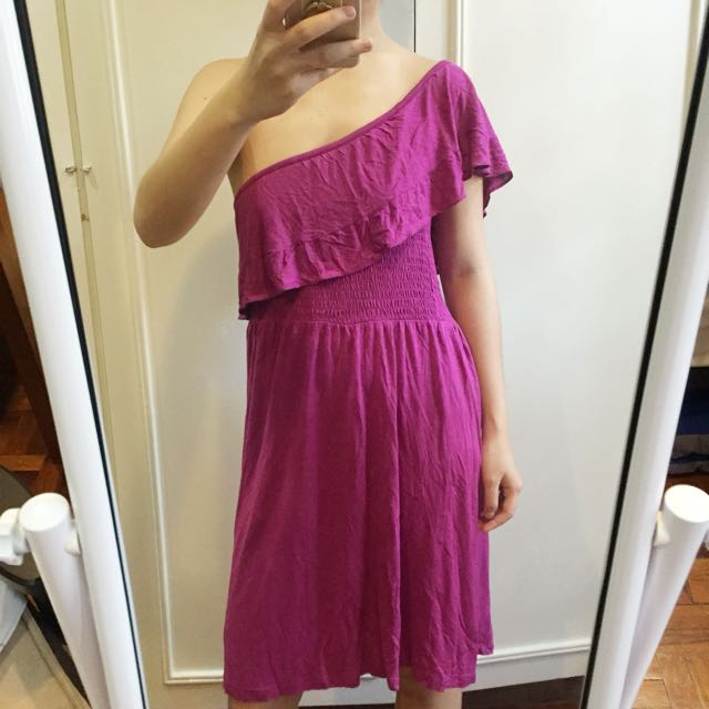 MANGO Purple One Shoulder Dress