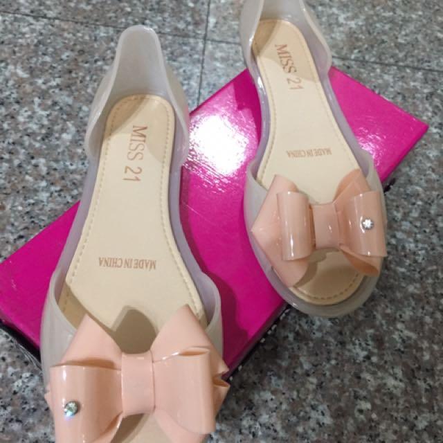 Miss21 蝴蝶結造型果凍鞋