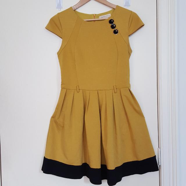 Mustard and black Dress