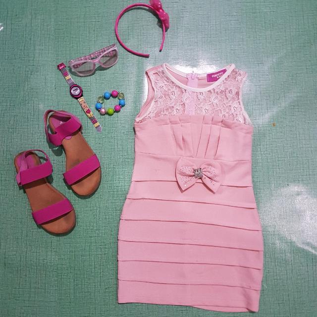 Nanno Kids Peach Bodycon Dress