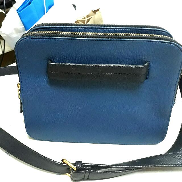 *Repriced* Navy Blue Tri Zipper Bag