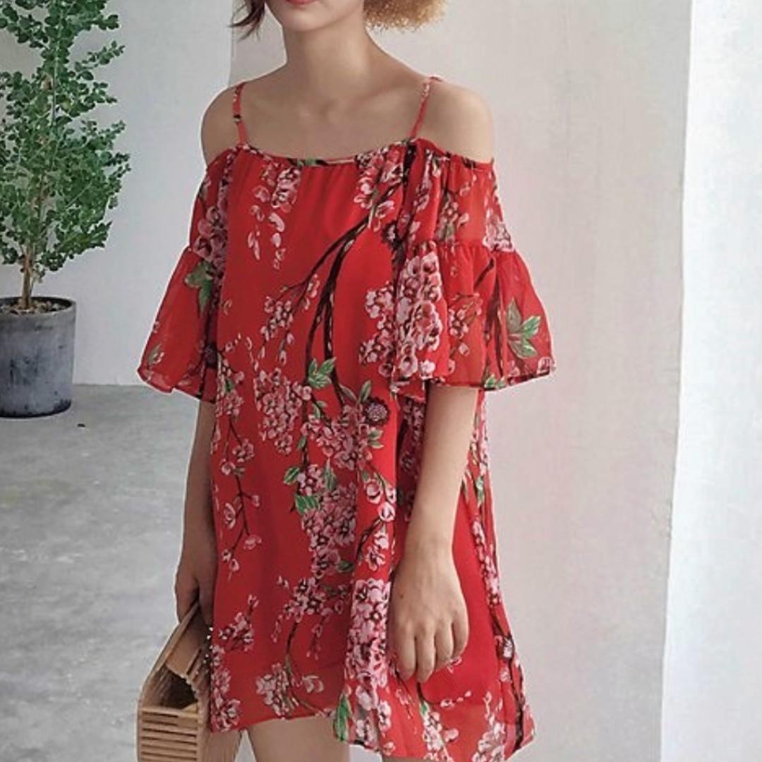 2e5b8f4538c6 Off the shoulder dress  cold shoulder floral dress in red (Free ...