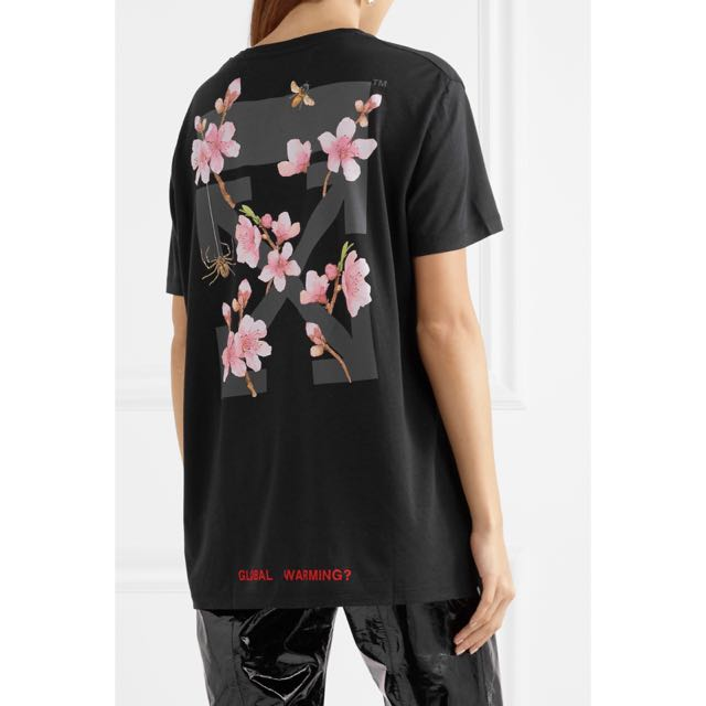 82f31a7a91a6 Off-White Cherry Blossom Flower Oversize Black T Shirt Rare Limited ...