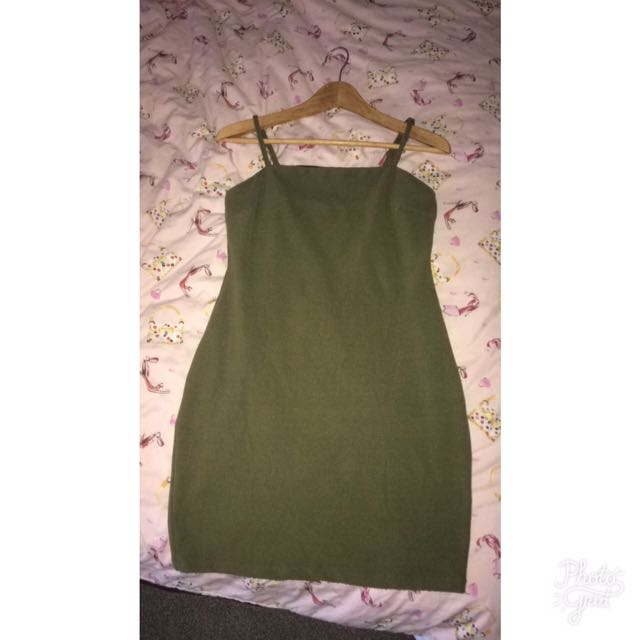 Olive Green Skin Tight Dress