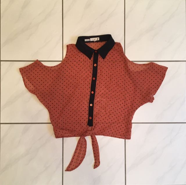 Orange Polkadot Top