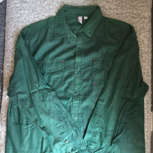 Penshoppe Green Button Down