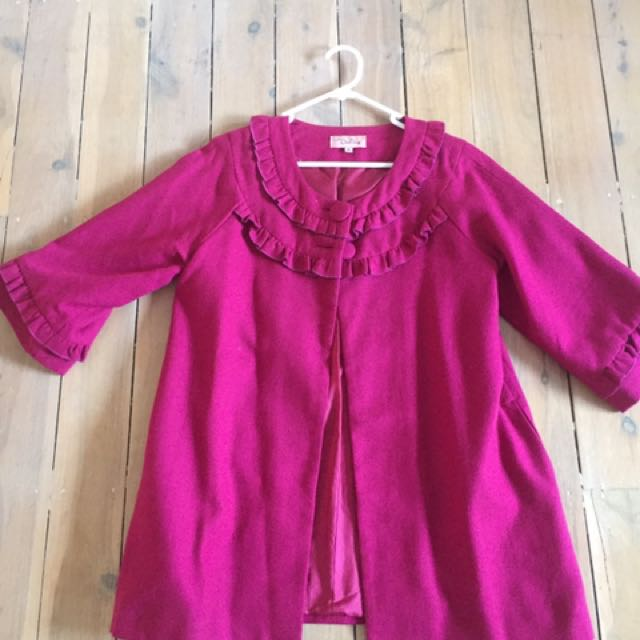 Pink Coat With Ruffles Size M
