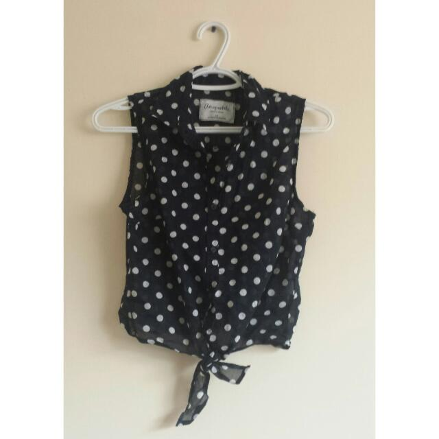 Polka Dot Tie-Up Shirt