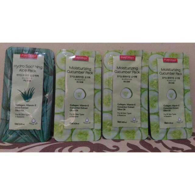 PUREDERM'S MOISTURIZING CUCUMBER PACK AND HYDRO SOOTHING ALOE VERA PACK