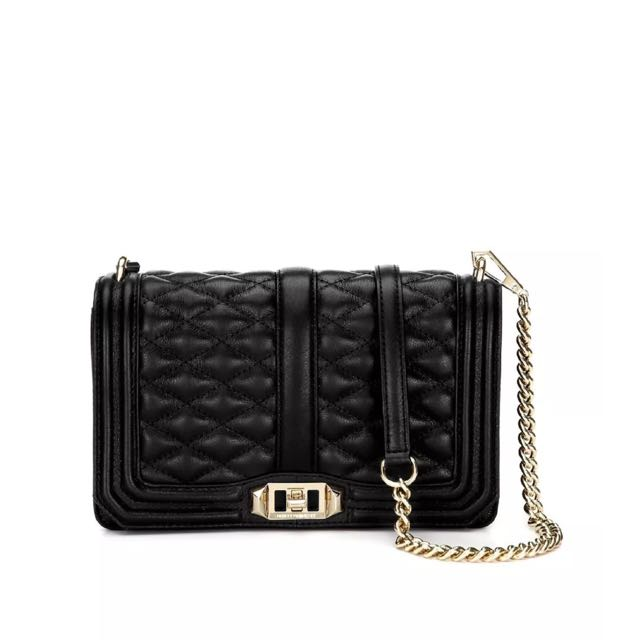 "Rebecca Minkoff Iconic Street Style Fave ""Love"" Crossbody Quilted Bag In Black"