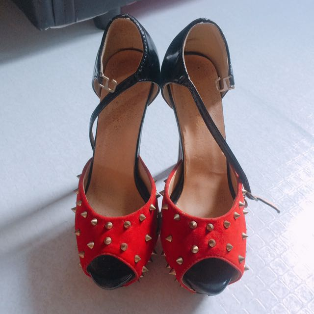 Red and Black Studded Heels Size 7
