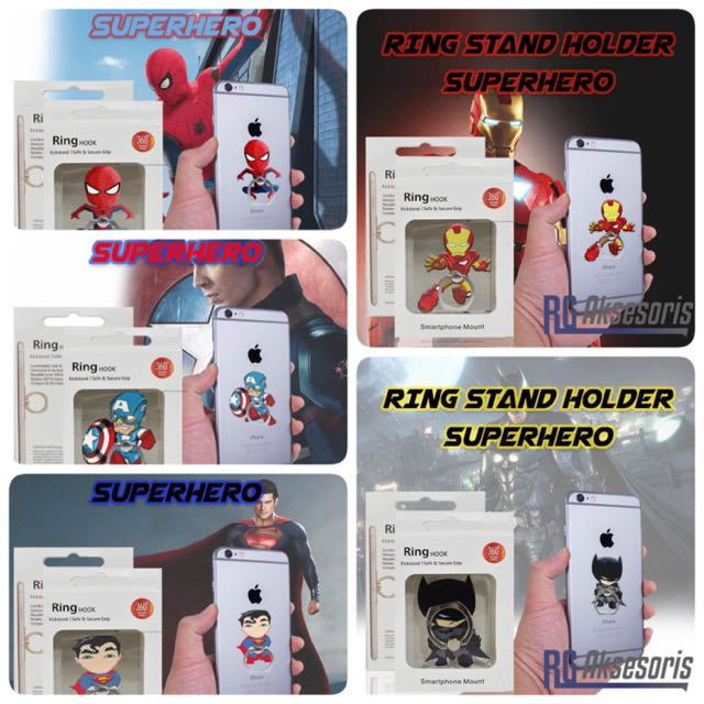 Ring Stand Holder Superhero Batman Captain America Spiderman Superman